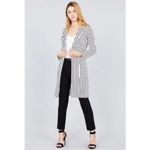 NWT White and Black Stripe Long Jacket